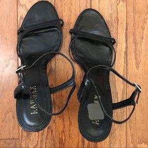 LRL Black Dress Strappy Sandals with Heels SZ 10